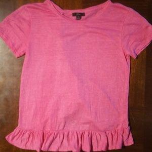 J Crew pink ruffle shirt